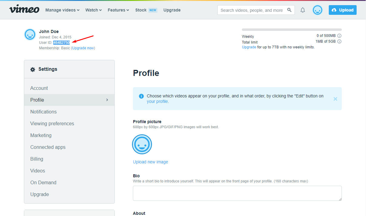 Vimeo get user profile id