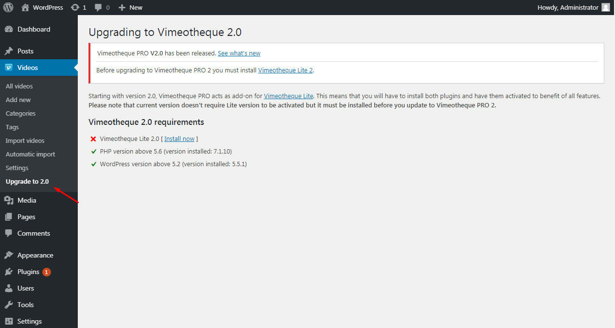 Vimeotheque 1.7 upgrade page