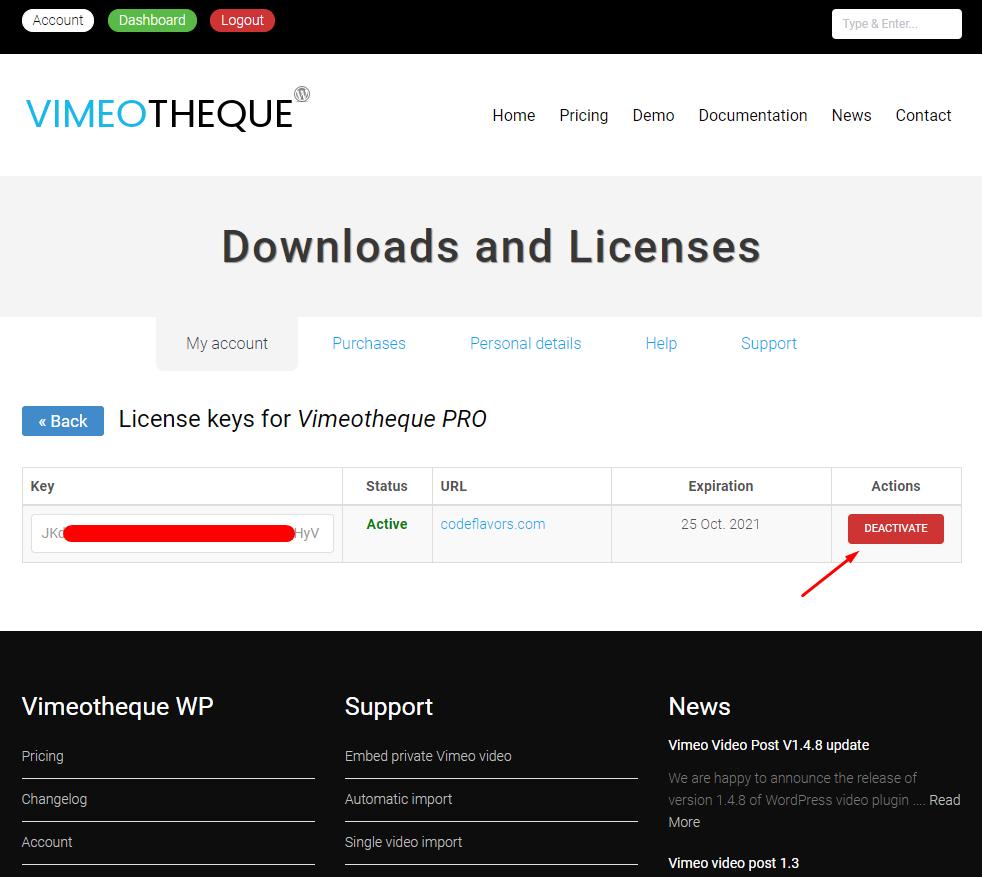 License key deactivation