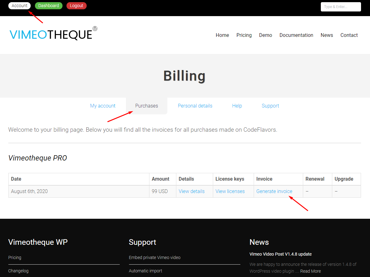 Vimeotheque how to get purchase invoice