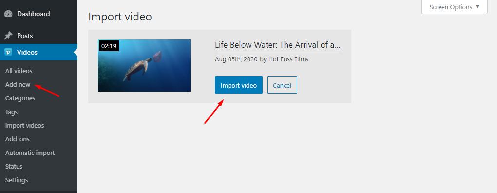 Vimeotheque import single video - step 2