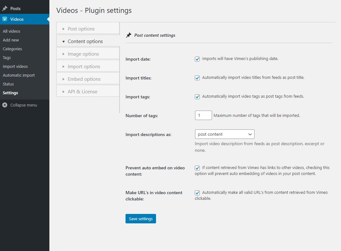 Vimeotheque PRO plugin content options