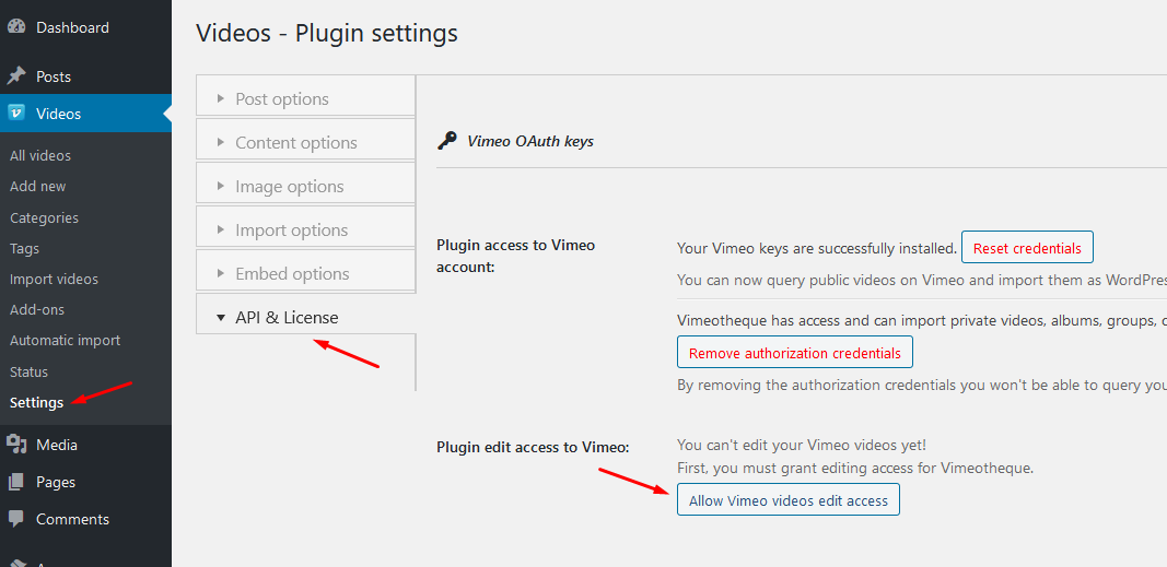 Vimeotheque Push to Vimeo add-on grant OAuth access