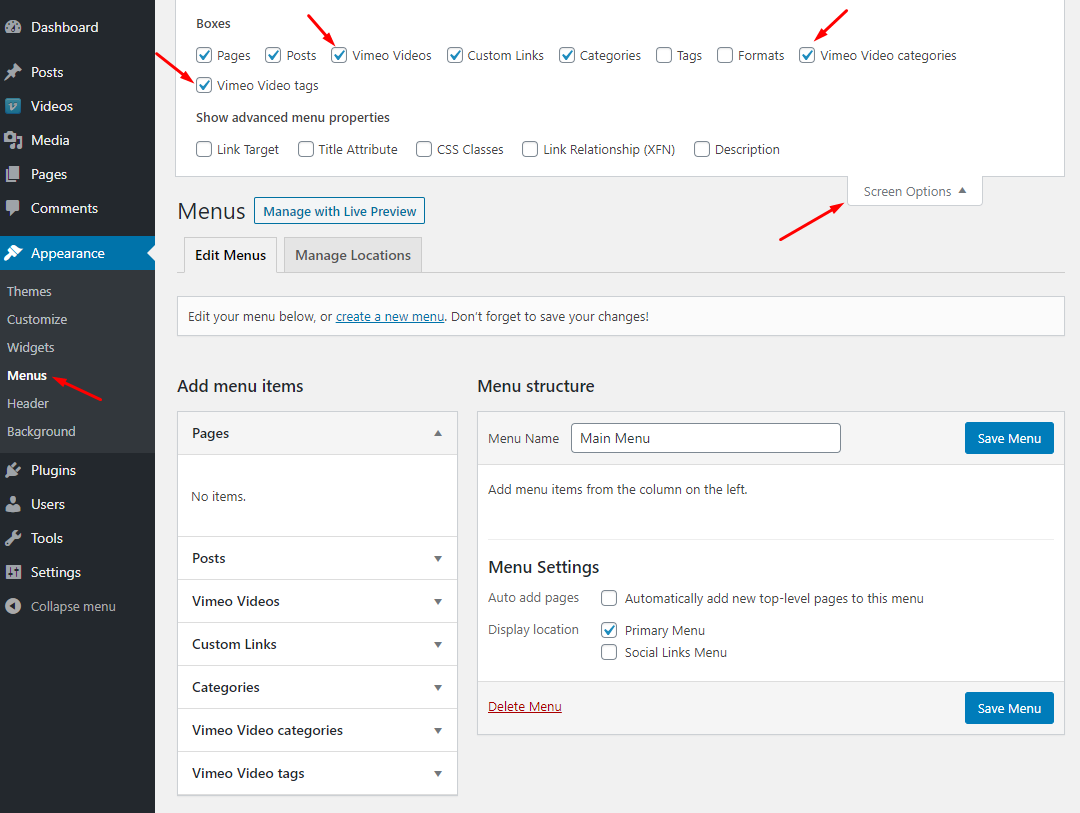 Vimeotheque add custom post type to WordPress menus