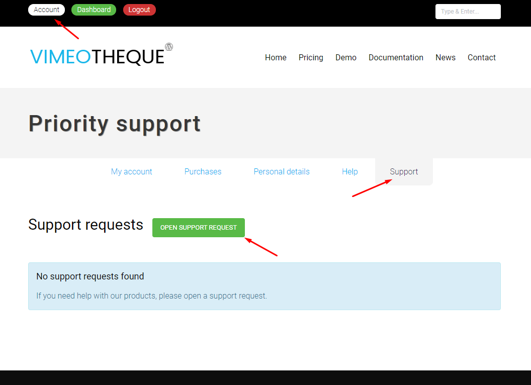 Vimeotheque open support request