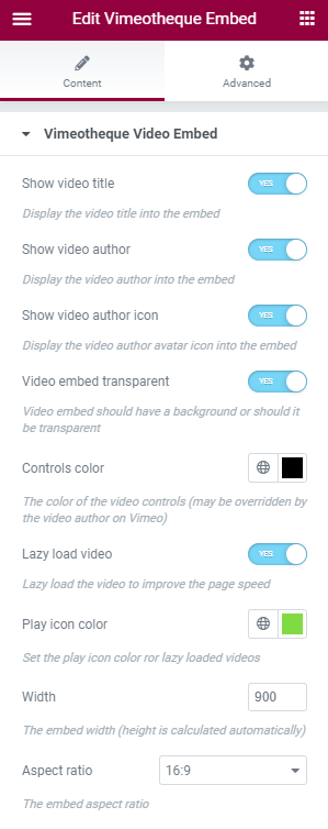 Vimeotheque for Elementor Embed Widget Options