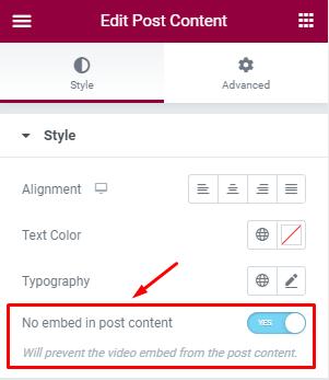 Vimeotheque for Elementor Post Content Widget options
